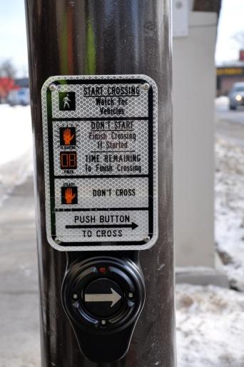 crosswalk button closeup